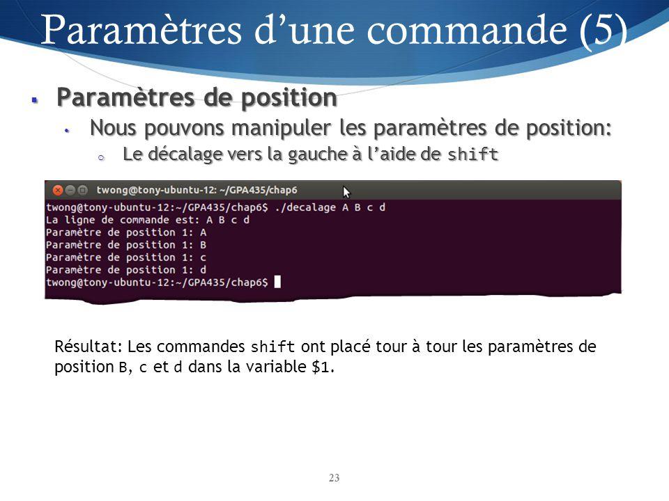 Paramètres de position Paramètres de position Nous pouvons manipuler les paramètres de position: Nous pouvons manipuler les paramètres de position: o