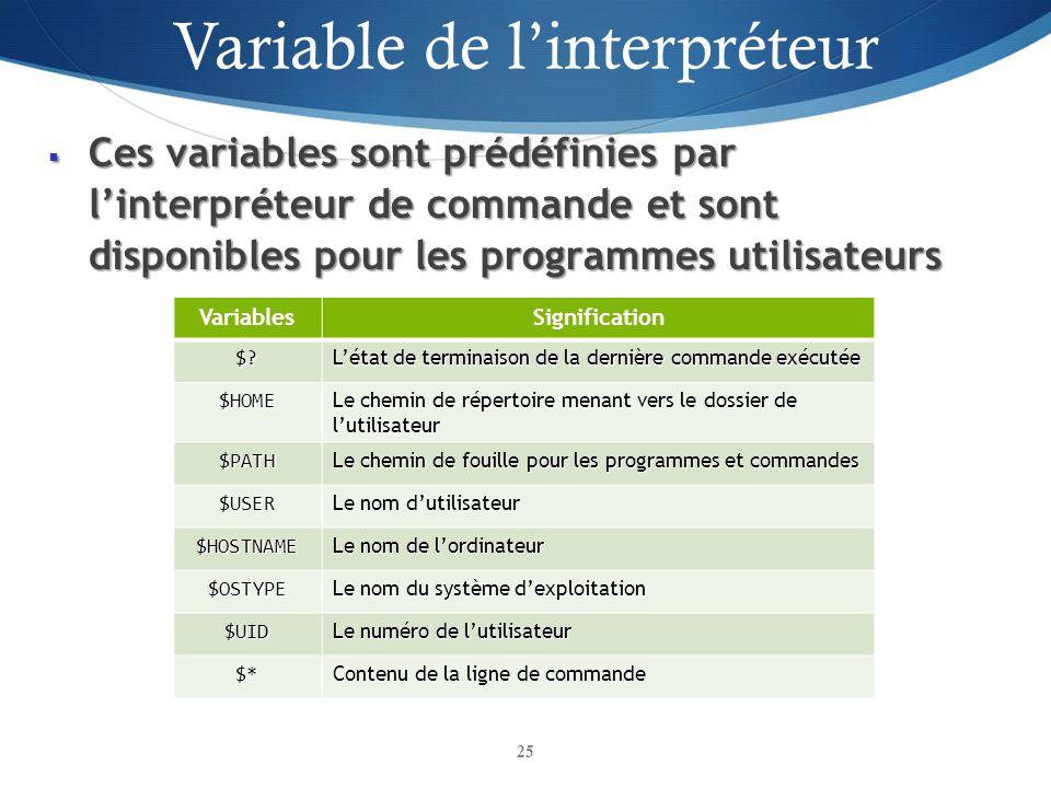 Ces variables sont prédéfinies par linterpréteur de commande et sont disponibles pour les programmes utilisateurs Ces variables sont prédéfinies par l