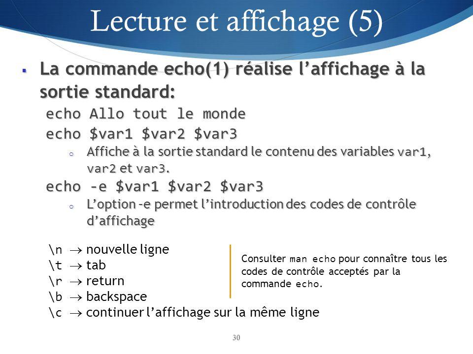 La commande echo(1) réalise laffichage à la sortie standard: La commande echo(1) réalise laffichage à la sortie standard: echo Allo tout le monde echo