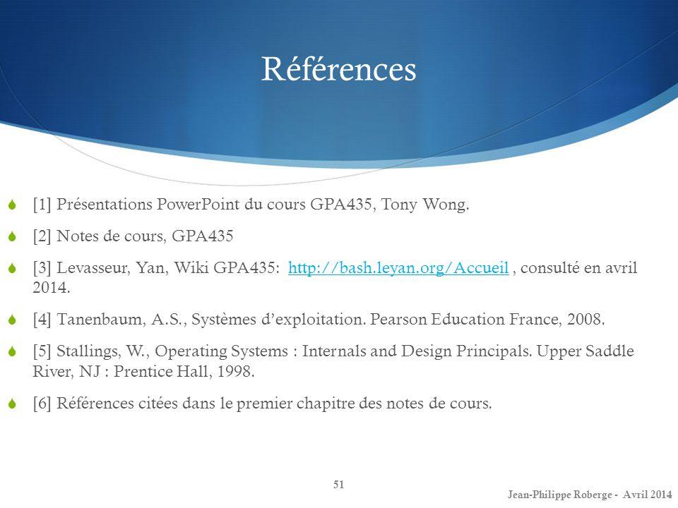 Références [1] Présentations PowerPoint du cours GPA435, Tony Wong. [2] Notes de cours, GPA435 [3] Levasseur, Yan, Wiki GPA435: http://bash.leyan.org/