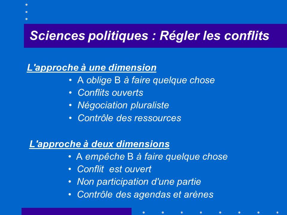 Sciences politiques : Régler les conflits L'approche à une dimension A oblige B à faire quelque chose Conflits ouverts Négociation pluraliste Contrôle