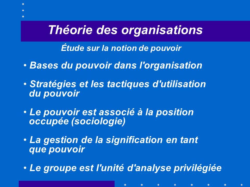 Théorie des organisations Bases du pouvoir dans l'organisation Stratégies et les tactiques d'utilisation du pouvoir Le pouvoir est associé à la positi
