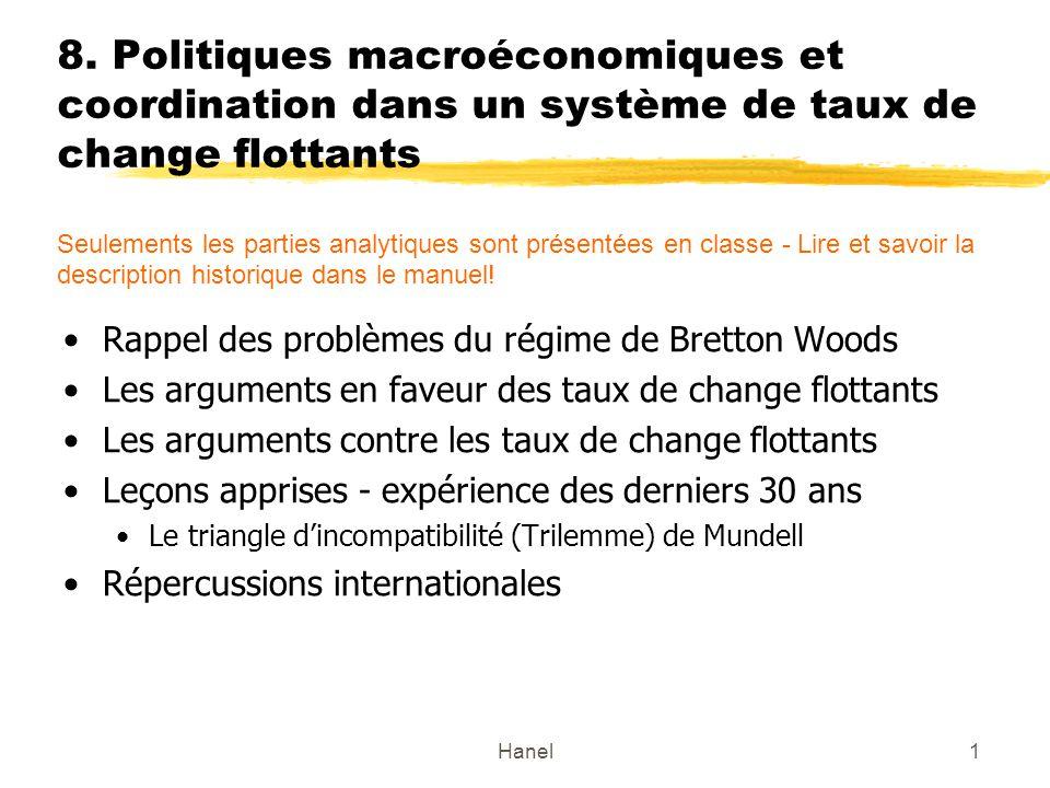 Hanel2 Problèmes du régime de Bretton Woods Pour atteindre léquilibre intérieur et extérieur, la combinaison des politiques budgétaires (changement des dépenses) et de change (substitution des dépenses) sont nécessaires.