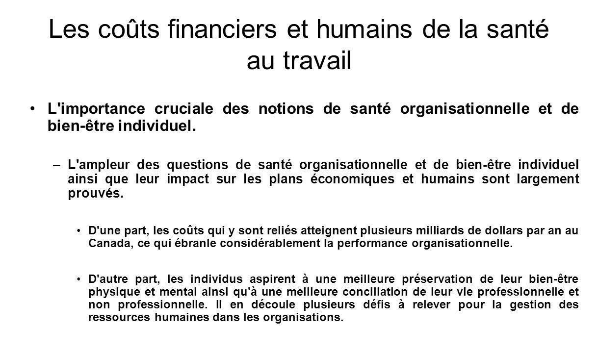Les coûts financiers et humains de la santé au travail L importance cruciale des notions de santé organisationnelle et de bien-être individuel.