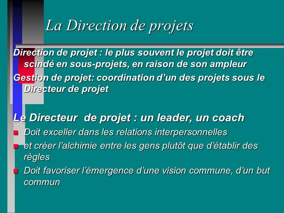 La Direction de projets Direction de projet : le plus souvent le projet doit être scindé en sous-projets, en raison de son ampleur Gestion de projet: