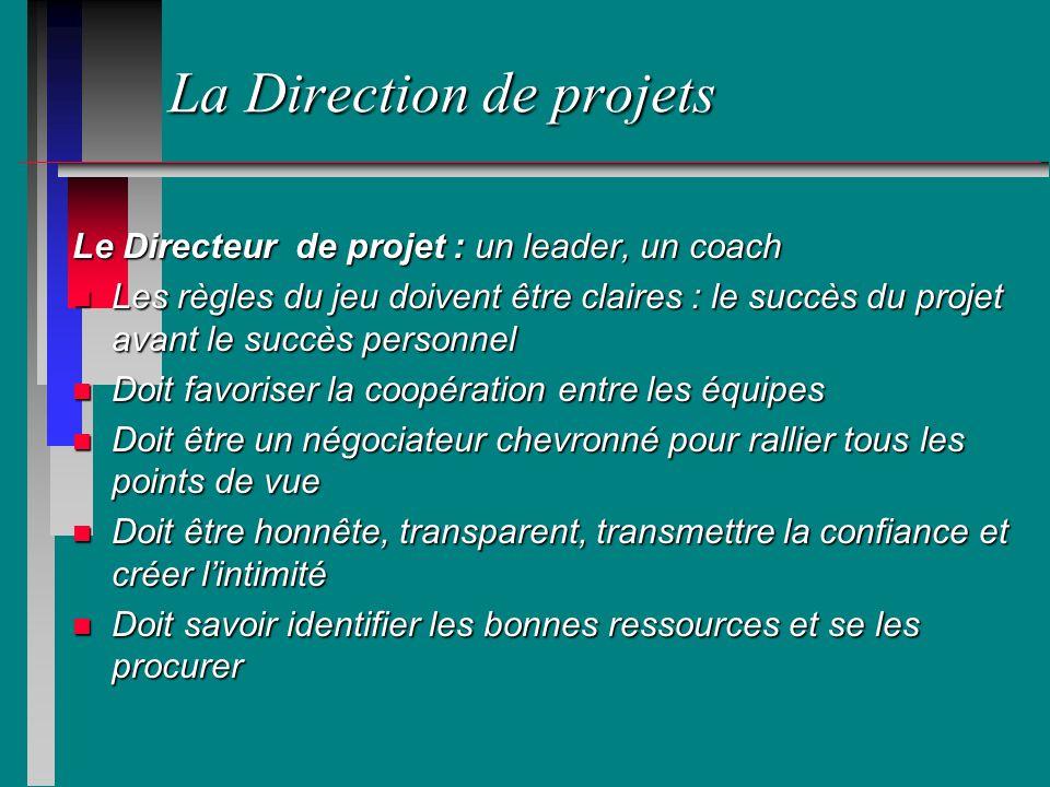 La Direction de projets Le Directeur de projet : un leader, un coach n Les règles du jeu doivent être claires : le succès du projet avant le succès pe