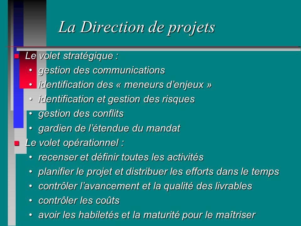 La Direction de projets n Le volet stratégique : gestion des communicationsgestion des communications identification des « meneurs denjeux »identifica