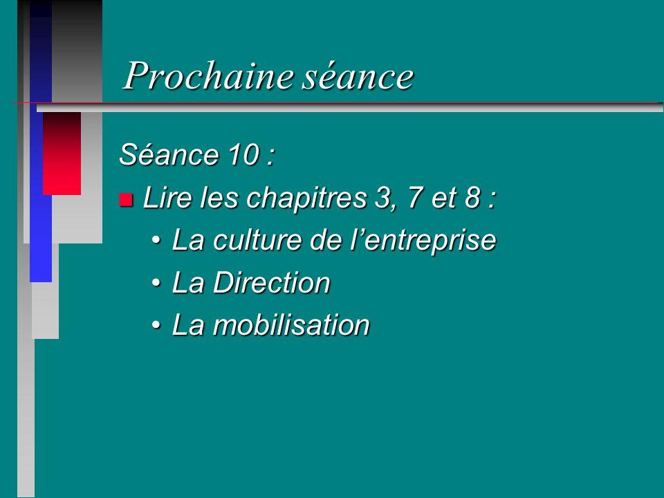 Prochaine séance Séance 10 : n Lire les chapitres 3, 7 et 8 : La culture de lentrepriseLa culture de lentreprise La DirectionLa Direction La mobilisat