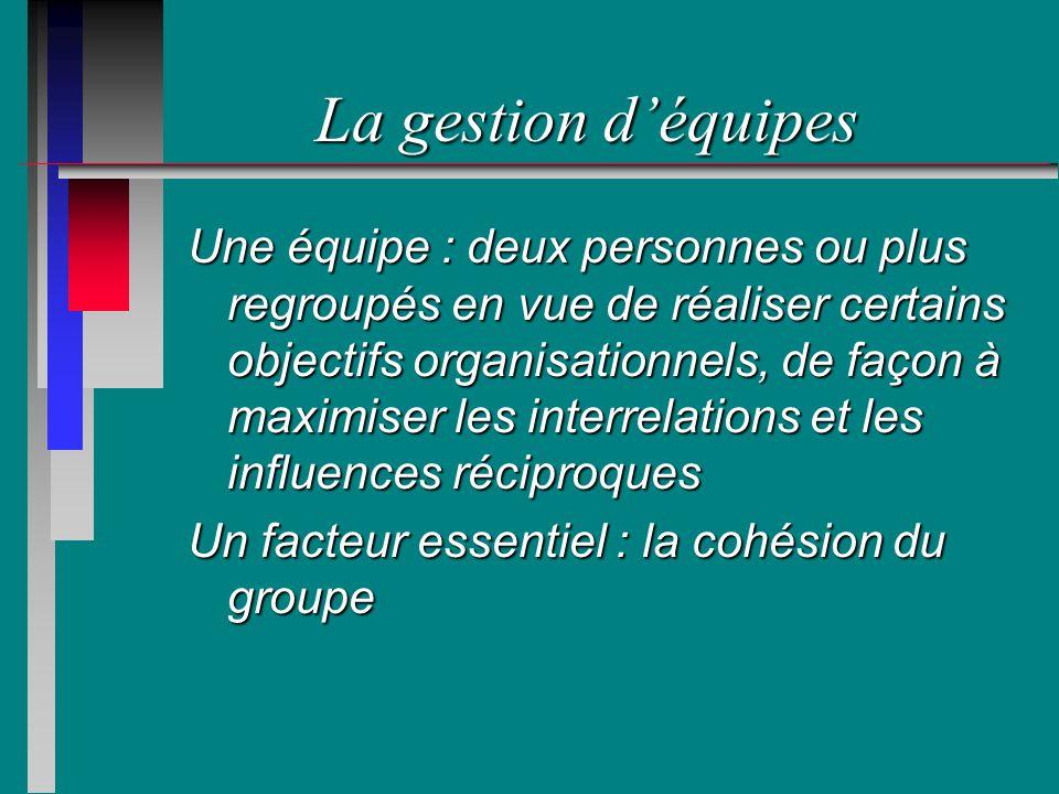 La gestion déquipes Une équipe : deux personnes ou plus regroupés en vue de réaliser certains objectifs organisationnels, de façon à maximiser les interrelations et les influences réciproques Un facteur essentiel : la cohésion du groupe