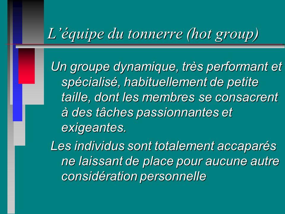 Léquipe du tonnerre (hot group) Un groupe dynamique, très performant et spécialisé, habituellement de petite taille, dont les membres se consacrent à des tâches passionnantes et exigeantes.