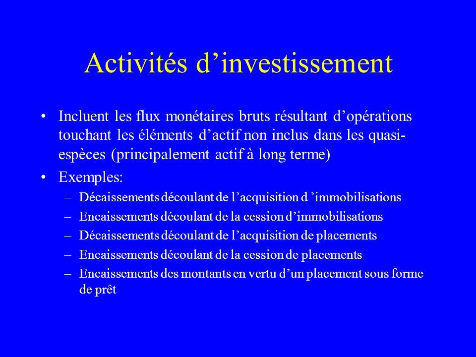 Activités dinvestissement Incluent les flux monétaires bruts résultant dopérations touchant les éléments dactif non inclus dans les quasi- espèces (pr