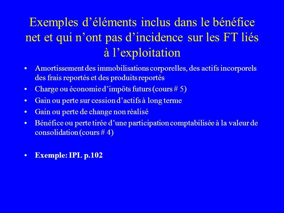 Exemples déléments inclus dans le bénéfice net et qui nont pas dincidence sur les FT liés à lexploitation Amortissement des immobilisations corporelle