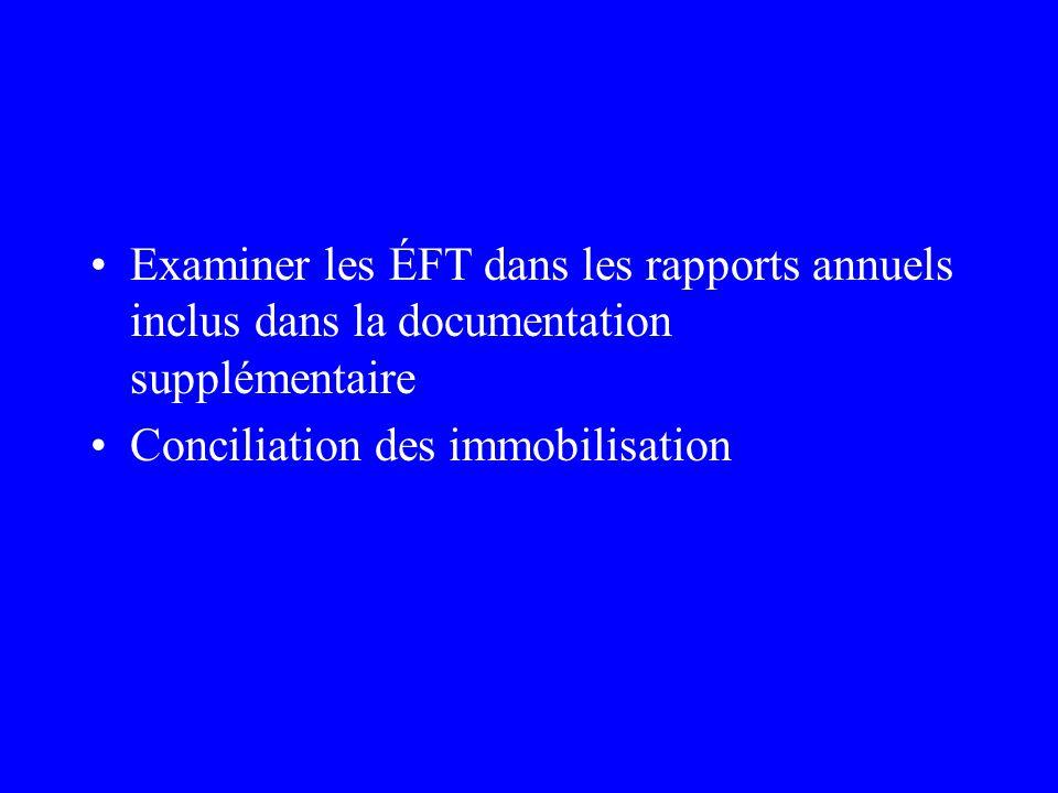 Examiner les ÉFT dans les rapports annuels inclus dans la documentation supplémentaire Conciliation des immobilisation