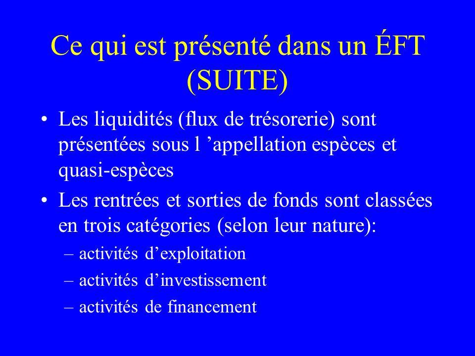 Ce qui est présenté dans un ÉFT (SUITE) Les liquidités (flux de trésorerie) sont présentées sous l appellation espèces et quasi-espèces Les rentrées e