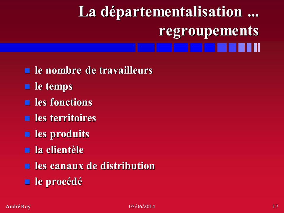 André Roy05/06/201417 La départementalisation... regroupements n le nombre de travailleurs n le temps n les fonctions n les territoires n les produits