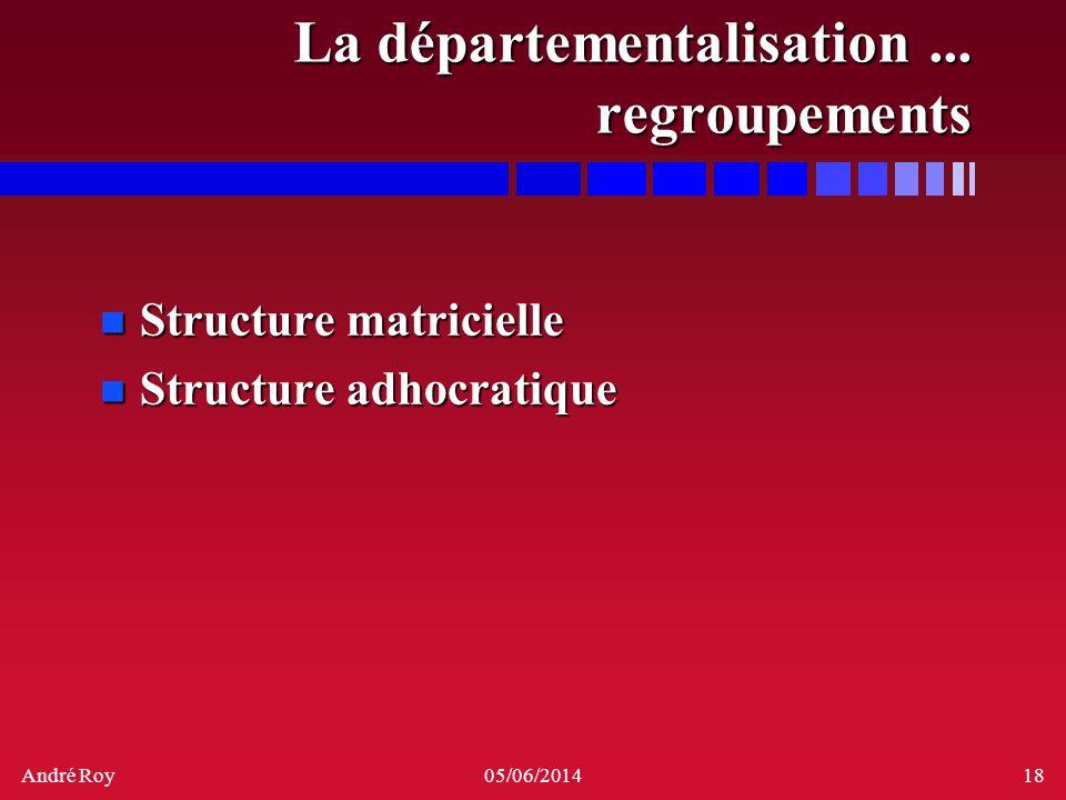 André Roy05/06/201418 La départementalisation... regroupements n Structure matricielle n Structure adhocratique