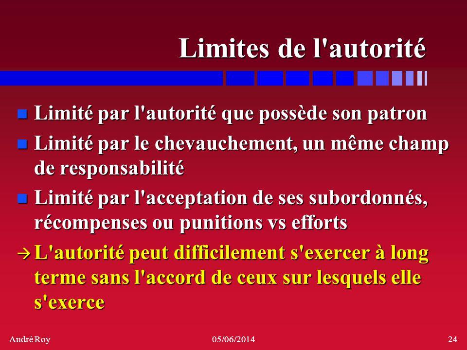 André Roy05/06/201424 Limites de l'autorité n Limité par l'autorité que possède son patron n Limité par le chevauchement, un même champ de responsabil