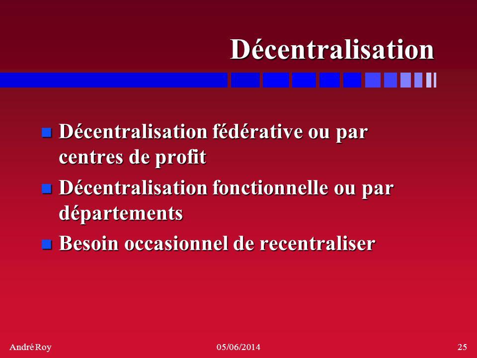 André Roy05/06/201425 Décentralisation n Décentralisation fédérative ou par centres de profit n Décentralisation fonctionnelle ou par départements n B