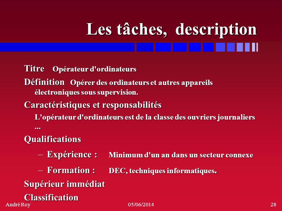 André Roy05/06/201428 Les tâches, description Titre Opérateur d'ordinateurs Définition Opérer des ordinateurs et autres appareils électroniques sous s