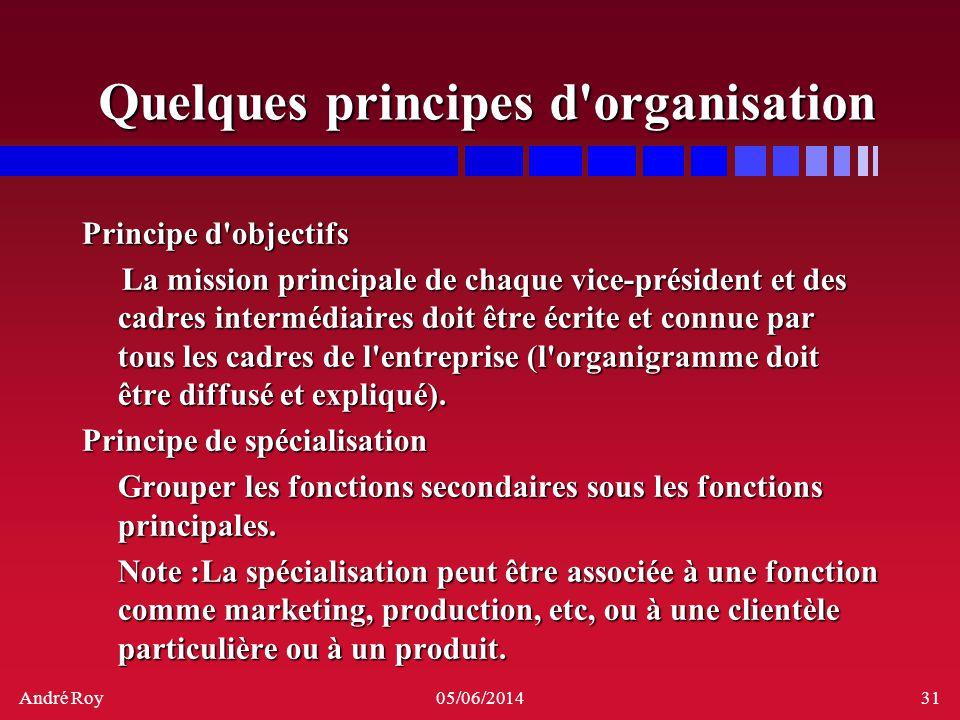 André Roy05/06/201431 Quelques principes d'organisation Principe d'objectifs La mission principale de chaque vice-président et des cadres intermédiair