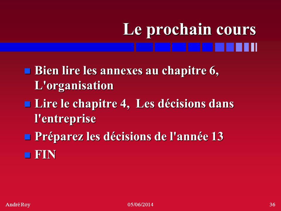 André Roy05/06/201436 Le prochain cours n Bien lire les annexes au chapitre 6, L'organisation n Lire le chapitre 4, Les décisions dans l'entreprise n