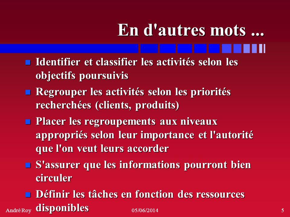 André Roy05/06/20145 En d'autres mots... n Identifier et classifier les activités selon les objectifs poursuivis n Regrouper les activités selon les p