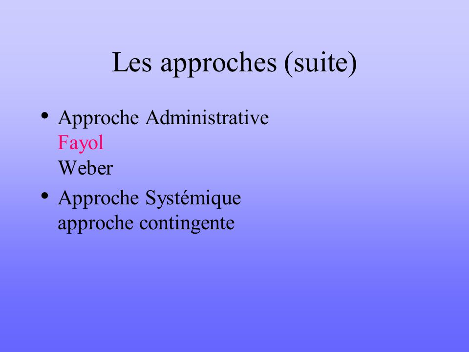 Les approches (suite) Approche Administrative Fayol Weber Approche Systémique approche contingente