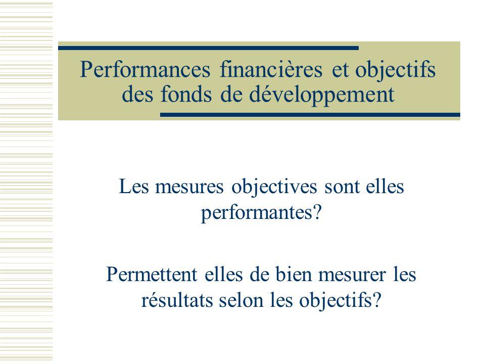 Performances financières et objectifs des fonds de développement Les mesures objectives sont elles performantes? Permettent elles de bien mesurer les
