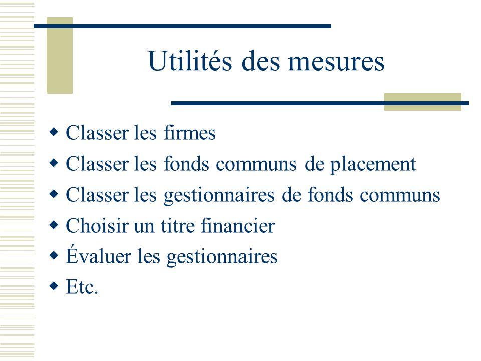 Utilités des mesures Classer les firmes Classer les fonds communs de placement Classer les gestionnaires de fonds communs Choisir un titre financier É
