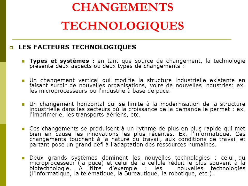 CHANGEMENTS TECHNOLOGIQUES LES FACTEURS TECHNOLOGIQUES Types et systèmes : en tant que source de changement, la technologie présente deux aspects ou deux types de changements : Un changement vertical qui modifie la structure industrielle existante en faisant surgir de nouvelles organisations, voire de nouvelles industries: ex.