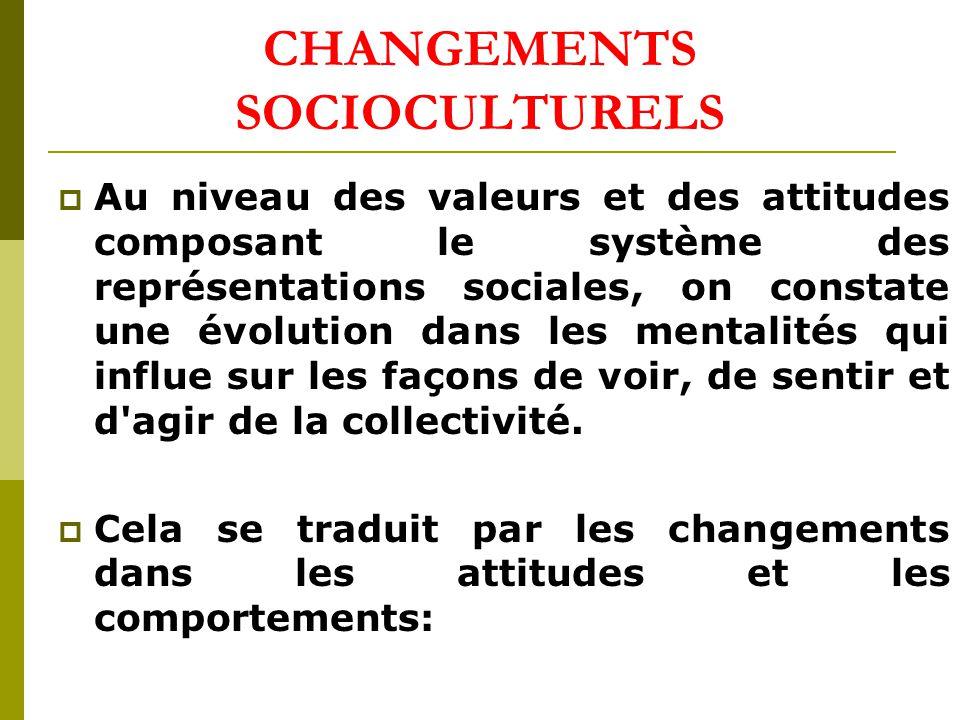 CHANGEMENTS SOCIOCULTURELS Au niveau des valeurs et des attitudes composant le système des représentations sociales, on constate une évolution dans les mentalités qui influe sur les façons de voir, de sentir et d agir de la collectivité.