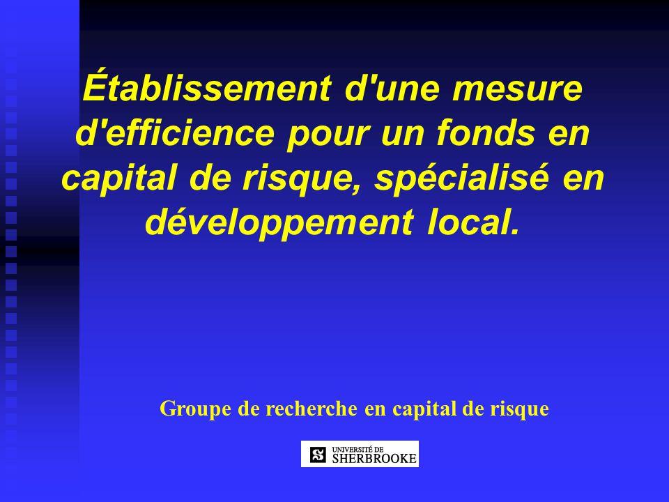 Établissement d'une mesure d'efficience pour un fonds en capital de risque, spécialisé en développement local. Groupe de recherche en capital de risqu