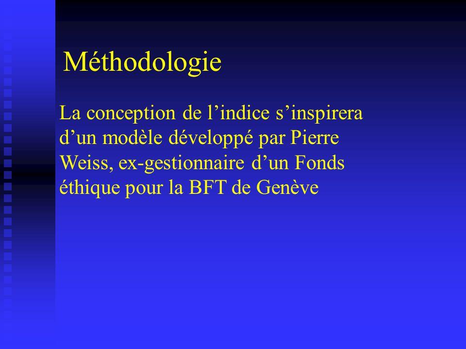 La conception de lindice sinspirera dun modèle développé par Pierre Weiss, ex-gestionnaire dun Fonds éthique pour la BFT de Genève