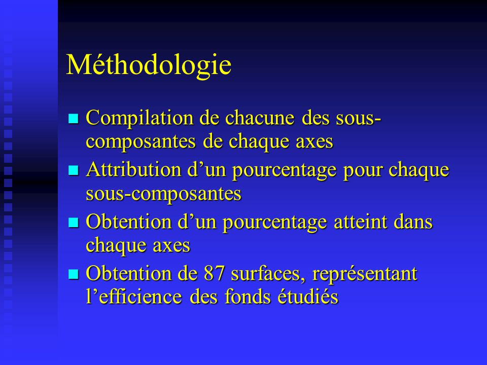 Compilation de chacune des sous- composantes de chaque axes Compilation de chacune des sous- composantes de chaque axes Attribution dun pourcentage po