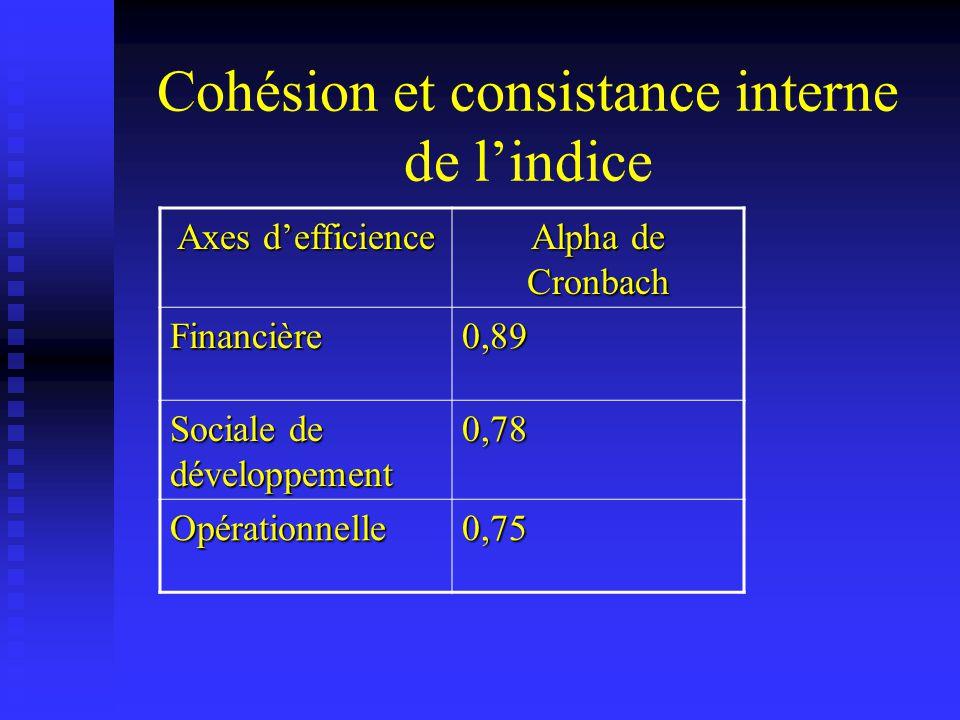 Cohésion et consistance interne de lindice Axes defficience Alpha de Cronbach Financière0,89 Sociale de développement 0,78 Opérationnelle0,75