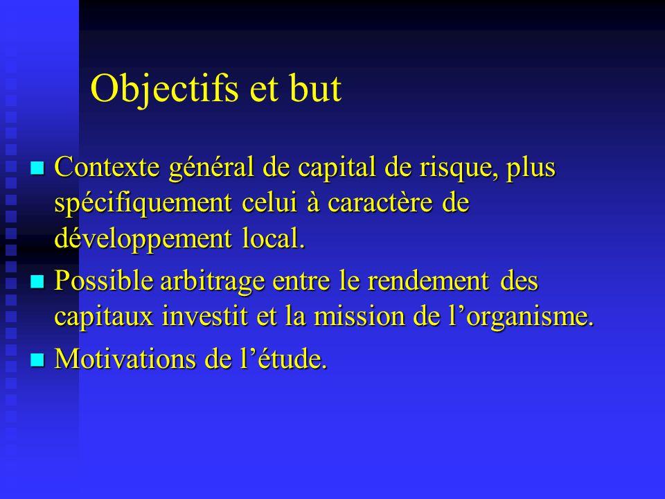 Objectifs et but Contexte général de capital de risque, plus spécifiquement celui à caractère de développement local. Contexte général de capital de r