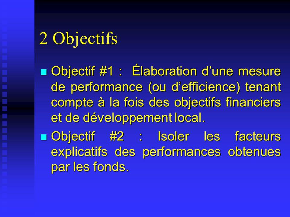 2 Objectifs Objectif #1 : Élaboration dune mesure de performance (ou defficience) tenant compte à la fois des objectifs financiers et de développement local.