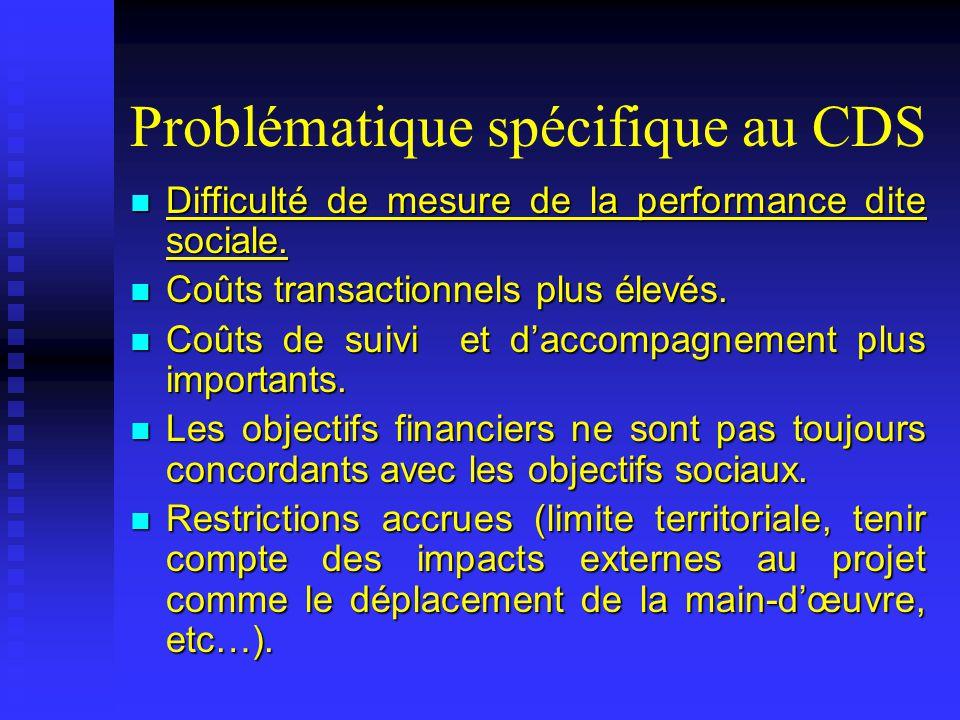 Problématique spécifique au CDS Difficulté de mesure de la performance dite sociale. Difficulté de mesure de la performance dite sociale. Coûts transa