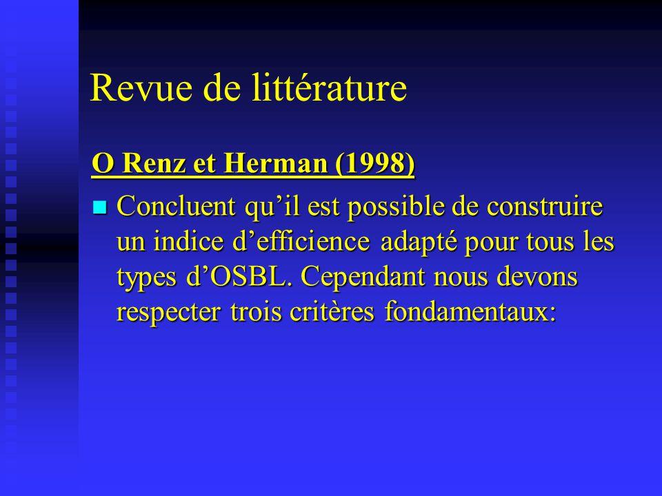 Revue de littérature O Renz et Herman (1998) Concluent quil est possible de construire un indice defficience adapté pour tous les types dOSBL. Cependa