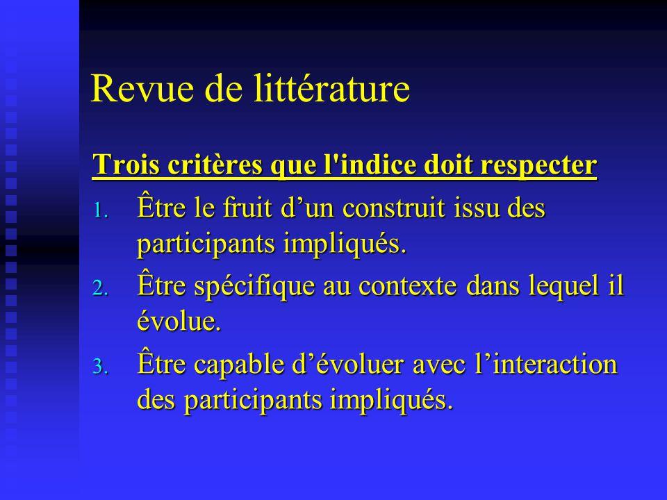 Revue de littérature Trois critères que l'indice doit respecter 1. Être le fruit dun construit issu des participants impliqués. 2. Être spécifique au