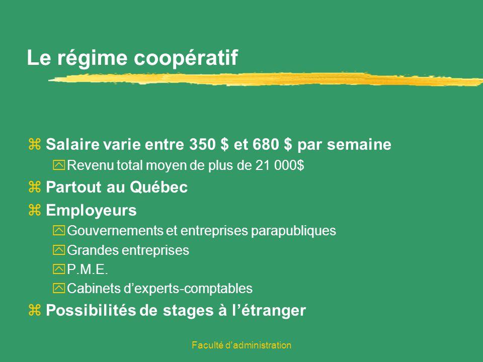 Faculté d administration Le régime coopératif zSalaire varie entre 350 $ et 680 $ par semaine yRevenu total moyen de plus de 21 000$ zPartout au Québec zEmployeurs yGouvernements et entreprises parapubliques yGrandes entreprises yP.M.E.