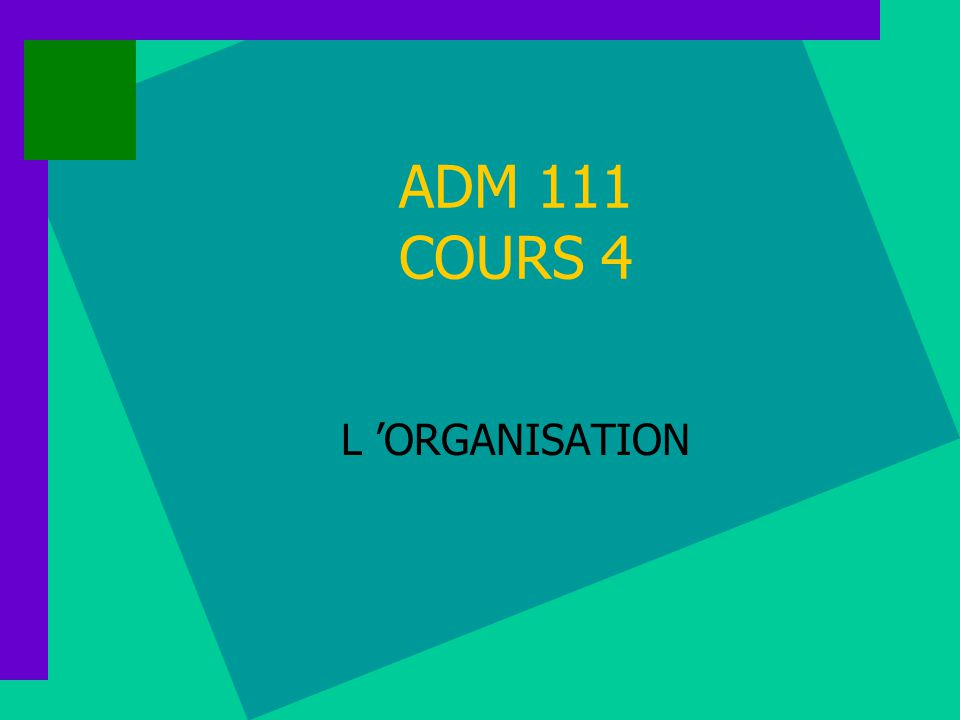 ADM 111 COURS 4 L ORGANISATION