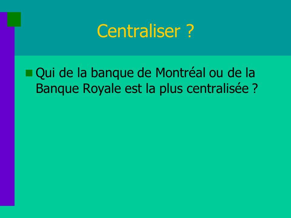 Centraliser ? Qui de la banque de Montréal ou de la Banque Royale est la plus centralisée ?