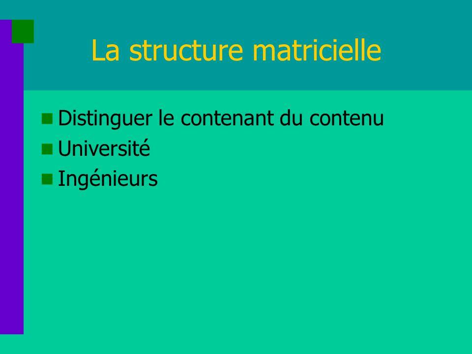 La structure matricielle Distinguer le contenant du contenu Université Ingénieurs