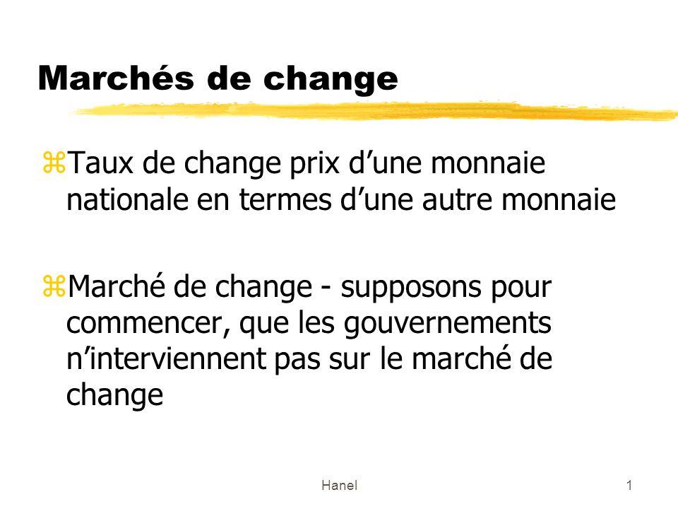Hanel1 Marchés de change zTaux de change prix dune monnaie nationale en termes dune autre monnaie zMarché de change - supposons pour commencer, que le