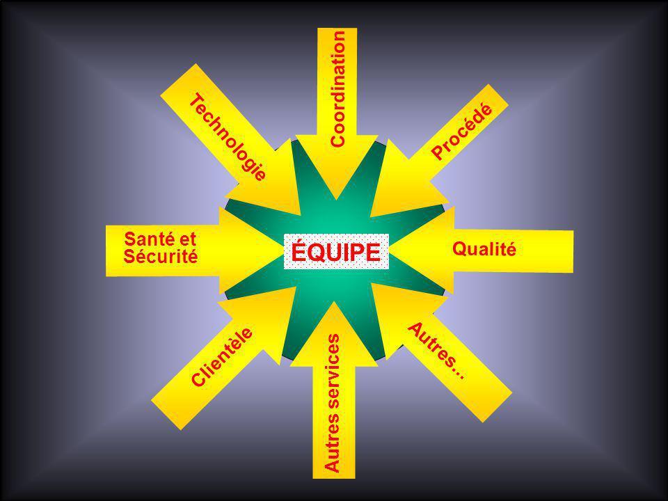 Santé et Sécurité ÉQUIPE Coordination Procédé Clientèle Qualité Technologie Autres services Autres...