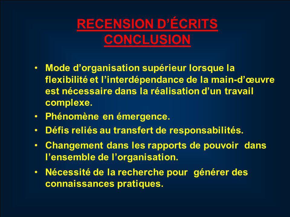 RECENSION DÉCRITS CONCLUSION Mode dorganisation supérieur lorsque la flexibilité et linterdépendance de la main-dœuvre est nécessaire dans la réalisation dun travail complexe.