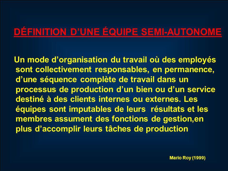 Un mode dorganisation du travail où des employés sont collectivement responsables, en permanence, dune séquence complète de travail dans un processus de production dun bien ou dun service destiné à des clients internes ou externes.
