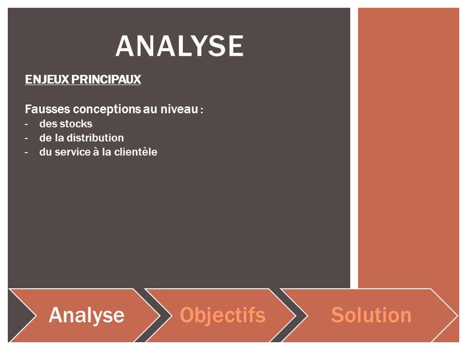 ANALYSE AnalyseObjectifsSolution ENJEUX PRINCIPAUX Fausses conceptions au niveau : -des stocks -de la distribution -du service à la clientèle