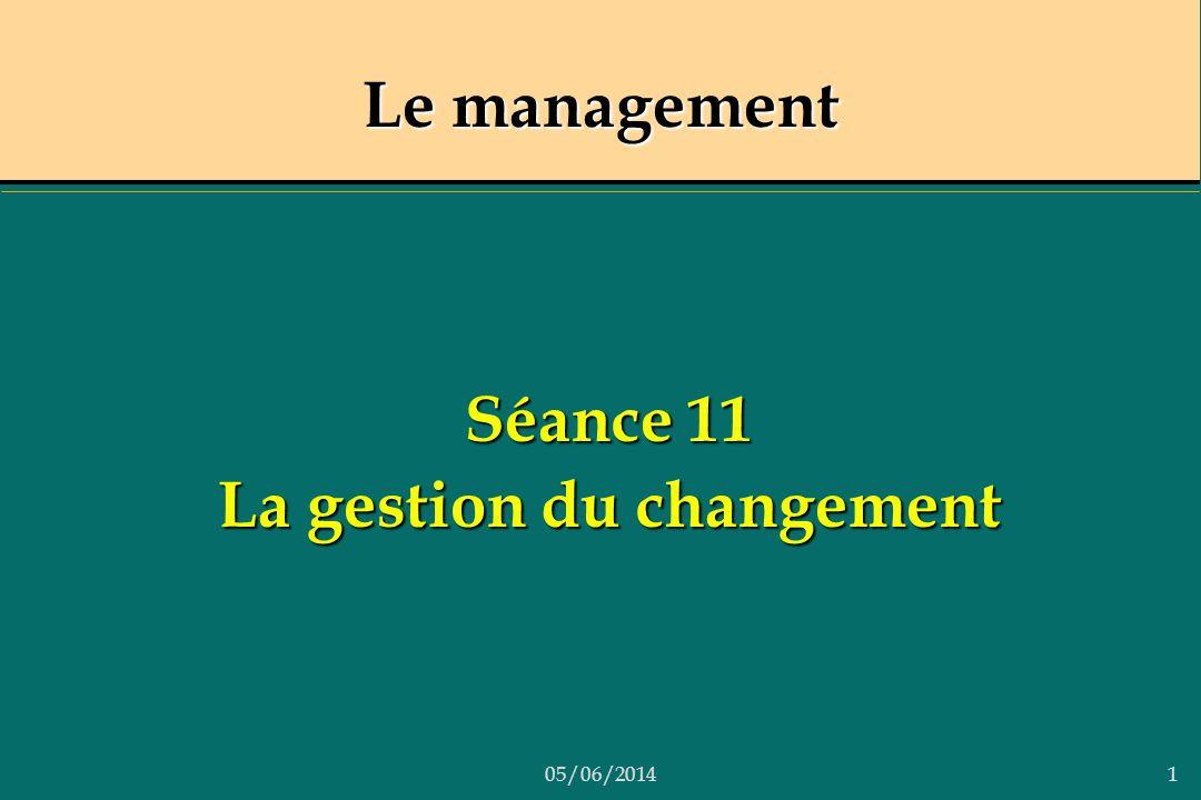 05/06/20141 Le management Séance 11 La gestion du changement